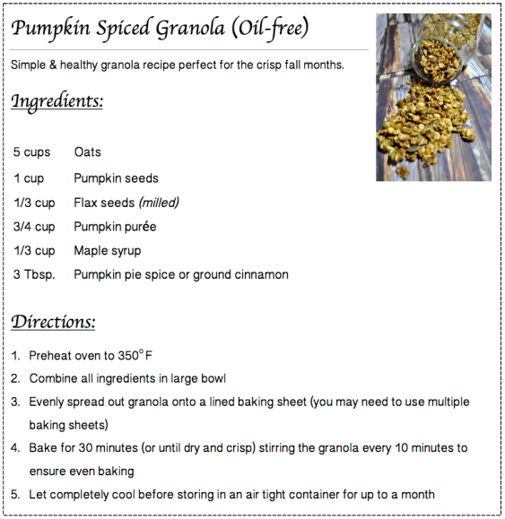 Pumpkin Spiced Granola Recipe Card